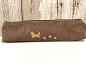 刺繍入りペンケース、ブラウン、尻尾あり